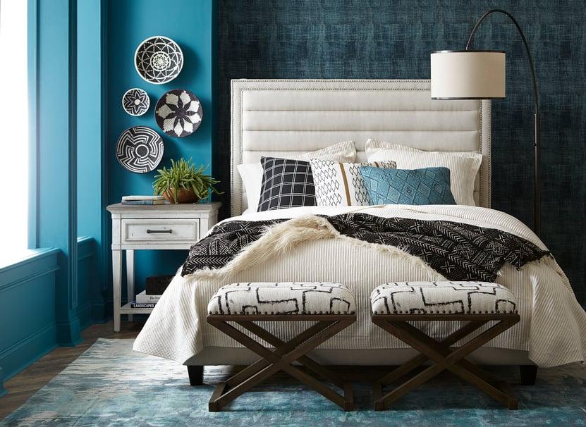 bedroom-scene-turquoise-walls-cloth-headboard