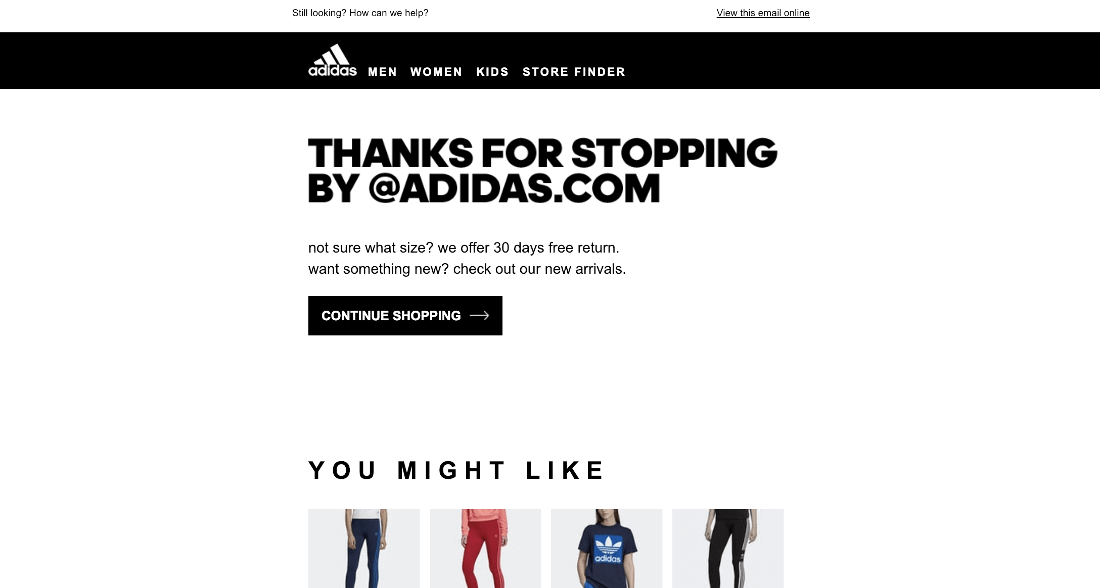 adidas-abandoned-cart-email-1-thanks-for-stopping-by