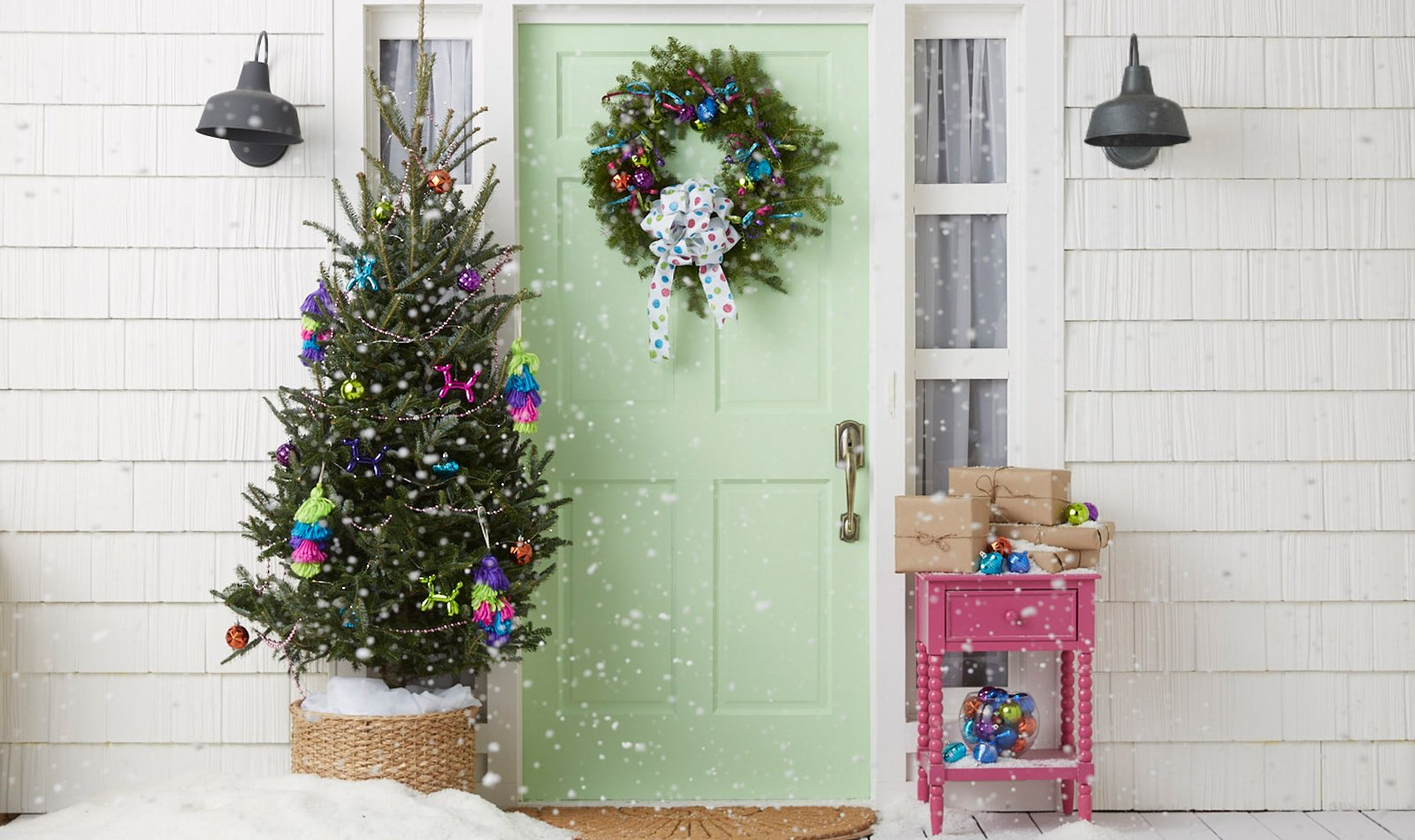christmas-tree-on-porch-bright-ornaments-colorful